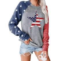 American Flag Star Pullover Tops Raglan Long Sleeve Shirts Women 4th of July USA