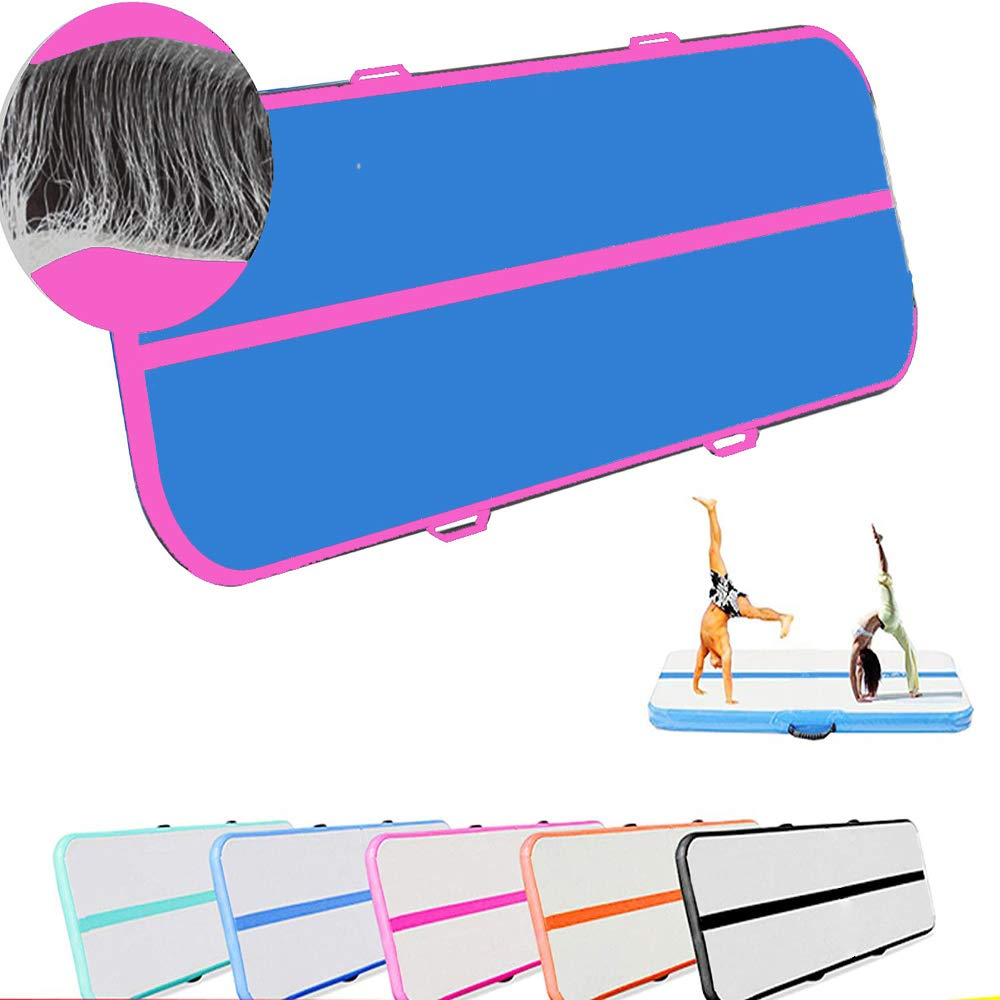CLEAN ELF Air Track Inflatable Tumbling Mats 10X3.3X0.33 FT for Gymnastics mat Gym, Yoga, Martial Arts, Training, Outdoor Activities Suitable for Adults & Kids, Workout Equipment (Blue&Pink)