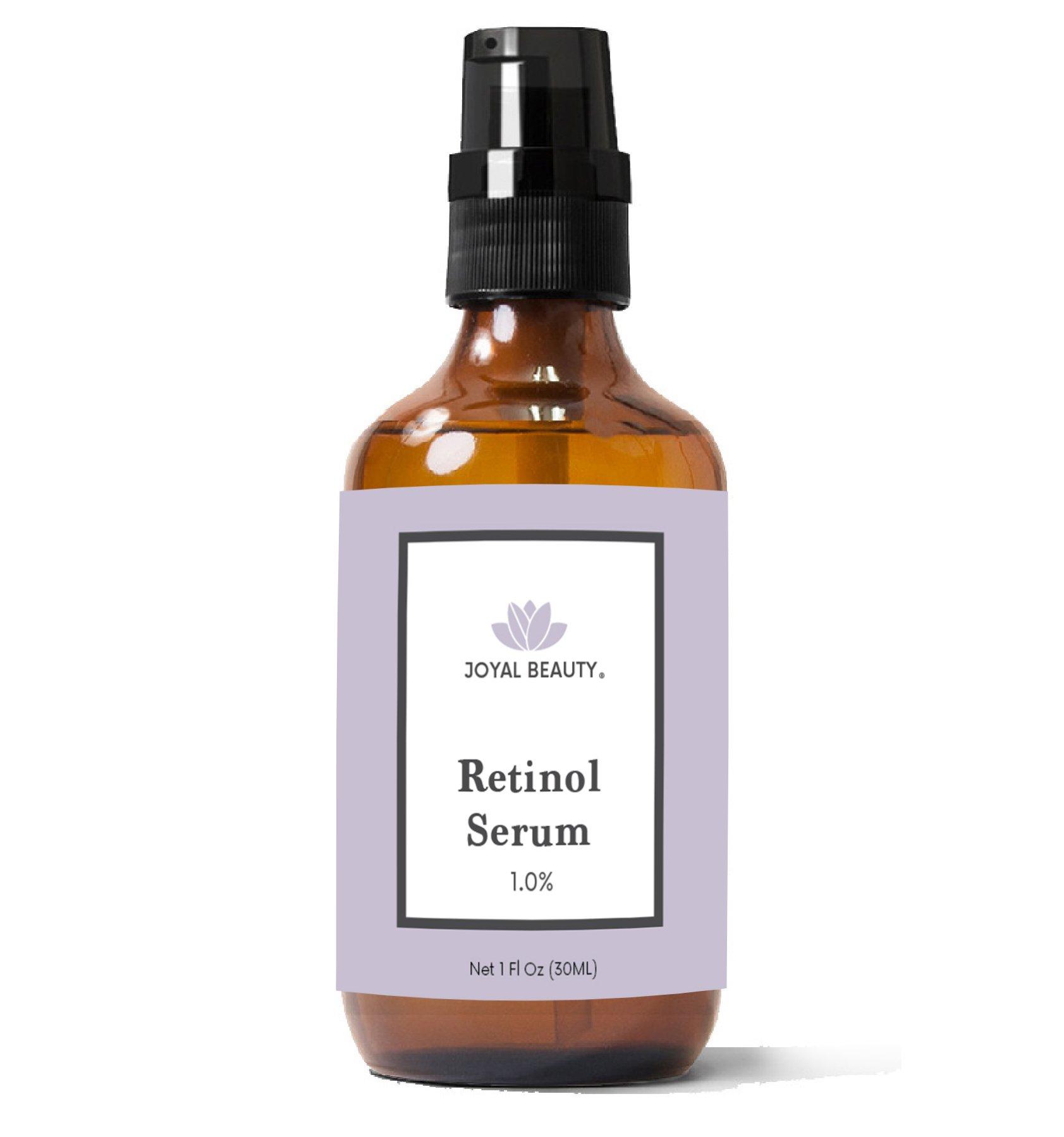 Joyal Beauty Organic Retinol Serum for Face Skin Eyes. Best for Anti-Aging Firming Fine Lines Anti Wrinkle Acne Pores. Advanced Premium Retinol Night Serum. 1.0%. 1 oz.