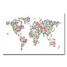 World Map - Cats by Michael Tompsett, 22x32-Inch Canvas Wall Art