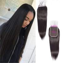 4x6 Lace Closure Straight Wave With Baby Hair Free Part Unprocessed Virgin Brazilian Human Hair Extensions Remy Hair Wet And Wavy Preplucked Swiss Lace Bleached Knots Natural Black(22 Inch)