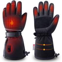 ZEROFIRE Heated Gloves for Men & Women, Waterproof Electric Heated Winter Ski & Snow Gloves with 3M Thinsulate Touchscreen Synthetic Leather Palm for Skiing, Snowboarding, Hunting & Shoveling