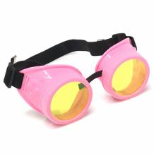 UV Glow in The Dark Steampunk Rave Goggles Retro Round Glasses Neon Pink Frame