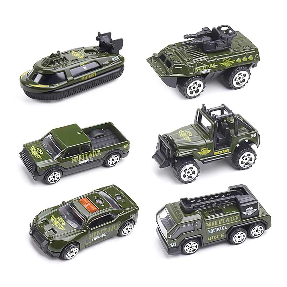 DricRoda 6 PCS Die-cast Metal Military Cars, Alloy Toy Car Play Set for Kids Toddlers Boys Girls