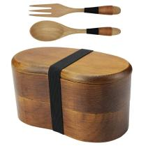 AOOSY Japanese Bento Box, Lunch Boxes, Japanese Double Layer Natural Wooden Bento Boxes Lunch Box For Kids Adult Picnicking Office School Hiking Camping