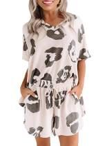 Blibea Womens Tie Dye Printed Tee and Shorts Pajamas Set Short Sleeve Sleepwear Pjs Sets Loungewear