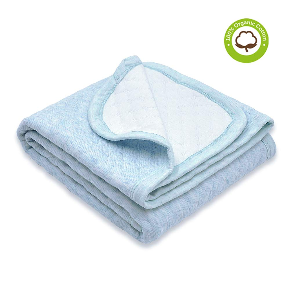 Organic Cotton Baby Blanket Warm, Breathable and Super Soft Quilted Toddler Blanket for Boys and Girls - Hypoallergenic Thermal Crib Blanket Thick and Light Weight 39x39 Inches Large -Light Blue