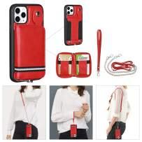 "TOOVREN iPhone 11 Pro Case 5.8 inch, Detachable Wallet Case Card Holder iPhone 11 Pro Case Wallet Handbag with Wrist Strap Crossbody Chain Zipper Wallet Case for iPhone 11 Pro 5.8"" Red"