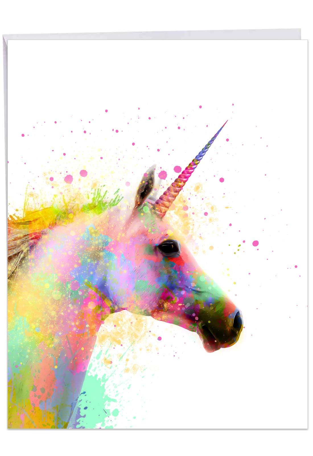 NobleWorks - Funky Rainbow Unicorns Believe - Watercolor Happy Birthday Card with Envelope (Big 8.5 x 11 Inch) J6748DBDG