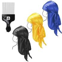 Baby Durag Kids Durag 3pcs Silky Durags for Kids between 3-8 Years Old Children Durag Cap with Long Tail and Wide Straps for 360 Waves (3+1)