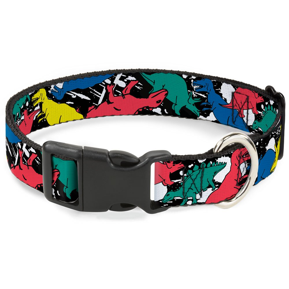Buckle-Down Dog Collar Plastic Clip Dinosaurs Paint Splatter Black White Multi Color Available in Adjustable Sizes for Small Medium Large Dogs