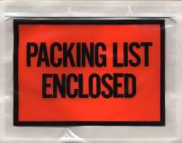 Pack of 100 Packing List Enclosed Envelopes 4 x 5 Full Face Packing Slip Envelopes 4 x 5 Adhesive Pouches for invoices 2 mil clear plastic bags. Red panel. Back side Document Loading, Packaging.