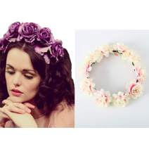 Edary Boho Rose Flower Wreath Wedding Garland Headpiece Seaside Floral Crown Hair Accessories for Women and Girls. (Pink2)