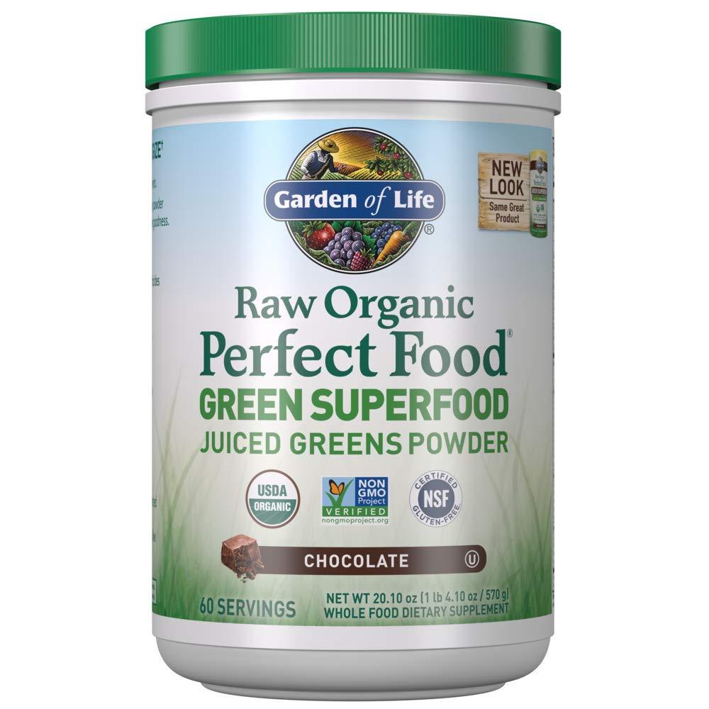 Garden Of Life Vegan Green Superfood Powder - Raw Organic Perfect Whole Food Dietary Supplement, Chocolate, 23.8oz (1 Lb 8 Oz / 675g) Powder
