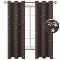 BGment Kids Blackout Curtains for Bedroom - Grommet Thermal Insulated Silver Star Print Room Darkening Curtains for Living Room, Set of 2 Panels (42 x 63 Inch, Brown)