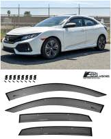 Extreme Online Store for 2016-Present Honda Civic Hatchback Models | EOS Visors JDM Real Mugen Clip-ON Style Smoke Tinted Side Vents Rain Guard Window Deflectors