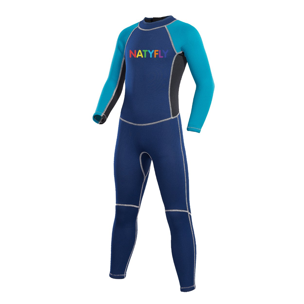 NATYFLY Kids Wetsuit, 2mm Neoprene Thermal Swimsuit, Full Wetsuit for Girls Boys and Toddler, Long Sleeve Kids Wet Suits for Swimming