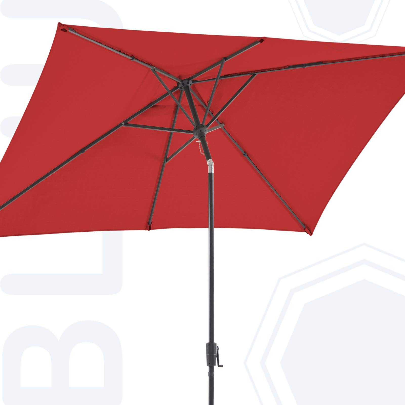 BLUU Olefin Rectangular Patio Market Umbrella Outdoor Table Umbrellas, 3-Year Nonfading Olefin Canopy, Market Center Umbrellas with Push Button Tilt for Garden, Lawn & Pool (6.6 x 9.8 FT, Apple Red)
