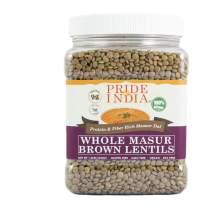 Pride Of India - Indian Whole Brown Crimson Masur Lentils - Protein & Fiber Rich Masoor Whole, 1.5 Pound Jar