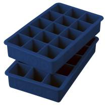 "Tovolo 22017-300 Perfect Ice Mold Freezer Tray of 1.25"" Cubes for Whiskey Bourbon, Spirits & Liquor, BPA-Free Silicone, Fade Resistant, Set of 2, Deep Indigo"