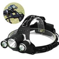 2in1 High Lumens Headlamp Aidisun Waterproof LED Headlights Serve as Head Lamps or Bicycle Light 90 Degree Adjustable Tactical Helmet Lights with Rechargeable Battery Best for Hunting Fishing Riding