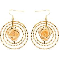 DeFaith Real Rose Earrings 24K Gold Dipped - Best Gift for Her Valentines Day Anniversary Birthday