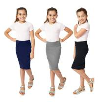 KIDPIK 3-Pack Pencil Skirts - Knee Length Skirt for Girls 4 Years & Up - Comfy Modest Clothing - 3 Colors/Set -