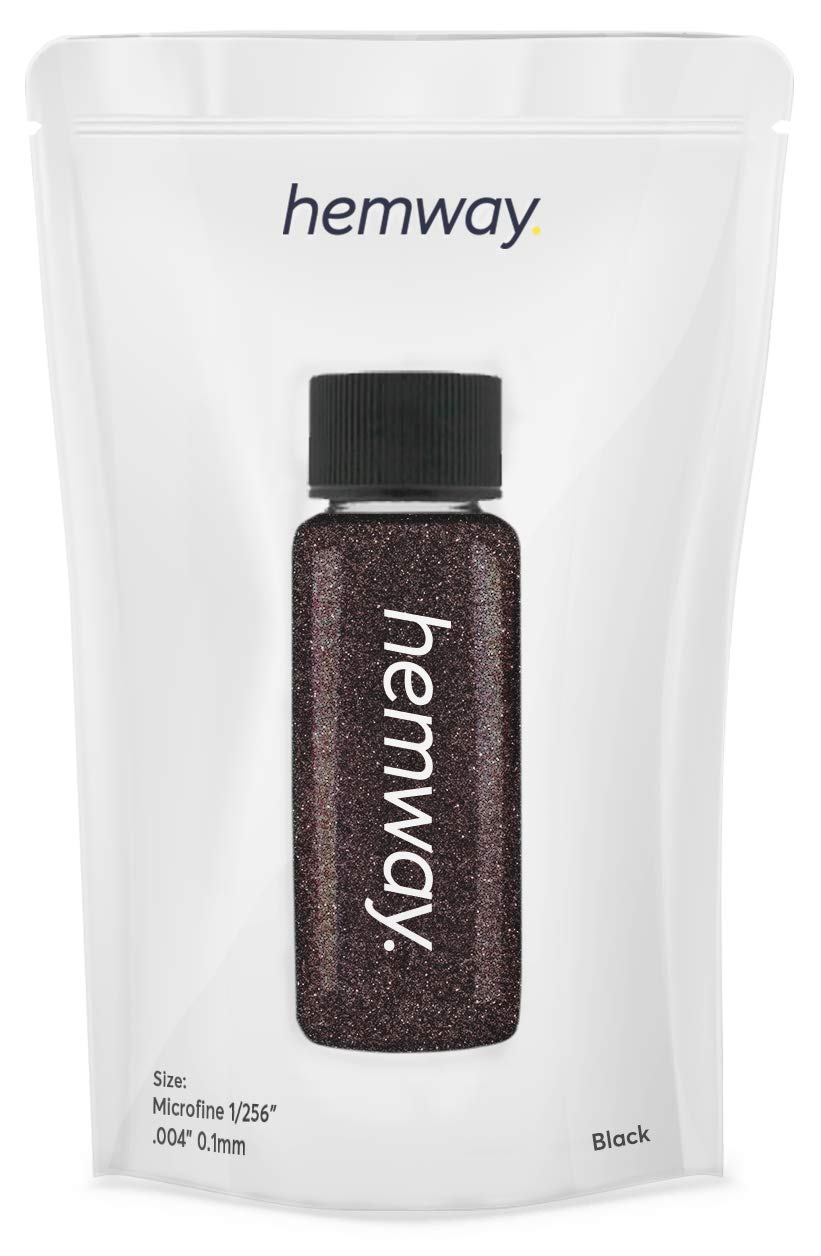 "Hemway Glitter Tube Ultra Fine 1/256"" Premium Sparkle Gel Nail Dust Art Powder Makeup Pigment Eyeshadow Face Body Eye Cosmetic Safe - 12.8g / 0.45oz (Black)"