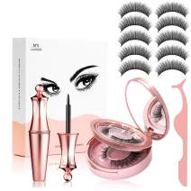 Magnetic Eyeliner and Eyelashes Kit, Magnetic Eyeliner for Magnetic Eyelashes Set, With Reusable Lashes,Magnetic Eyeliner and Lashes, No Glue Full Eye Magnets Natural Soft Eyelashes Extensions