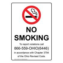 Ohio No Smoking to Report Violations Call Label Decal, 7x5 in. Vinyl for No Smoking by ComplianceSigns
