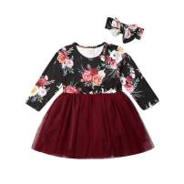 Toddler Baby Girl Flower Dress with Headband Outfit Long Sleeve Floral Tutu Spring Fall Dresses Clothes (Burgundy&Black-Tutu, 5-6T)