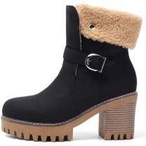 SaraIris Snow Boots Warm Fur Boots for Women - Vintage Block Heels Platform Shoes Woman Pull On Thick Fur Lining Mid Calf Boots - Winter Chunky Heel Buckle Warm Boots