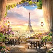 Baocicco 7x7ft Paris Panorama Effel Tower Garden Backdrop Vinyl Photography Background High Platform Sunset Glow Landscape Flower Bouquet Old Lantern Curtains Wedding Holiday Children Adult Portraits