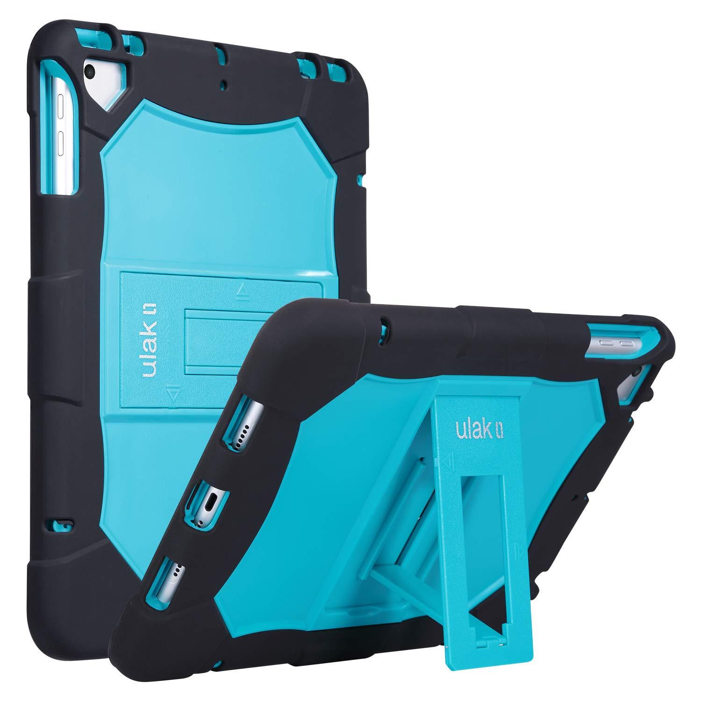 ULAK iPad 9.7 Case 2018 iPad 6th Generation Case / 2017 iPad 5th Generation Case, iPad Air Case, Heavy Duty Protection Shockproof Protective Kickstand Case for iPad 9.7 inch 2018/2017, Aqua Blue+Black