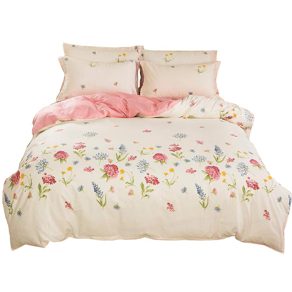 HOLY HOME Duvet Cover Mini Set Acrylic Fiber-Mixed Cotton Simple Style Soft & Cozy 4 Pieces Beddings (Twin, Daisy Pink)