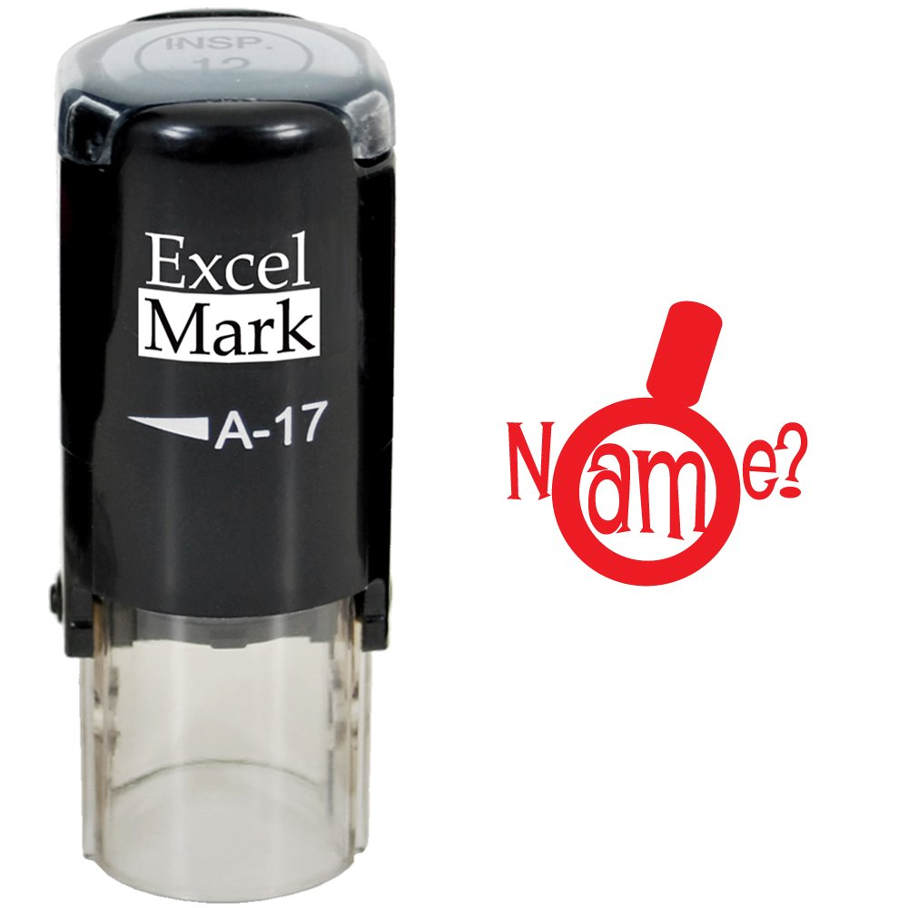 Round Teacher Stamp - Name? (Magnifying Glass) - RED Ink