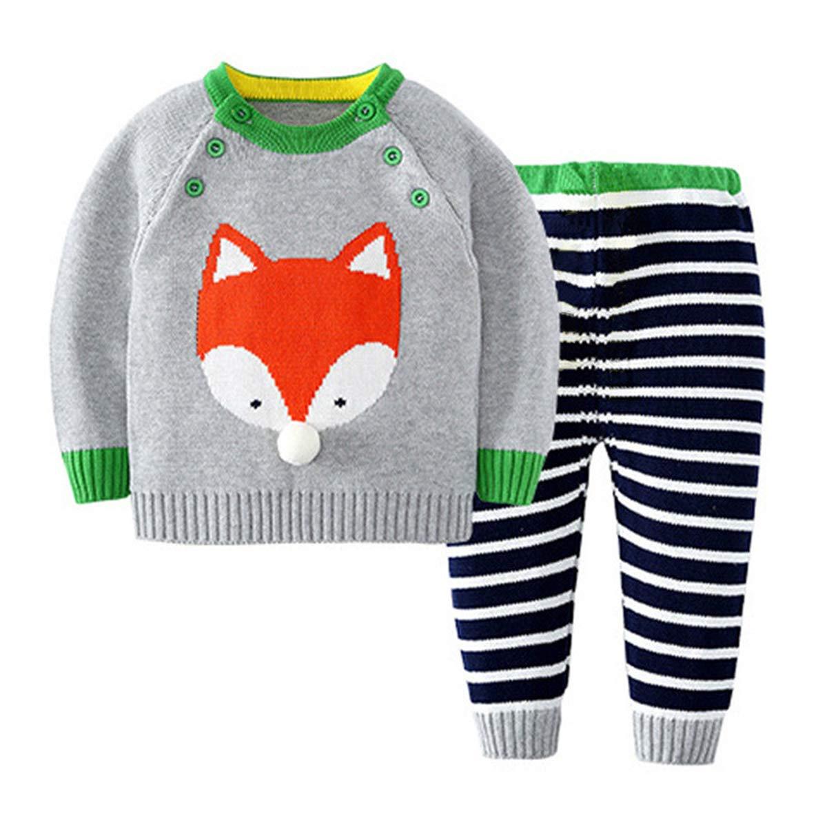 Dealone 2-Piece Baby Boys Girls Stripes Long Pants Set Fox Knit Sweaters Sweatshirt Suit