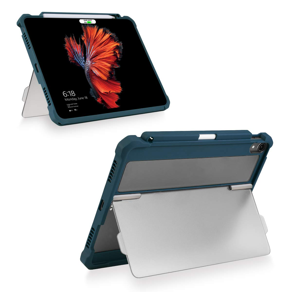 """Maxjoy Compatible for iPad Pro 11 Cover, iPad Pro 11 Case, [Support Pencil Charging], Shockproof Rugged iPad 11 Protective Cover with Kickstand Stand + Apple Pencil Holder for iPad Pro 11"""" 2018, Blue"""