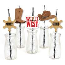 Big Dot of Happiness Western Hoedown - Paper Straw Decor - Wild West Cowboy Party Striped Decorative Straws - Set of 24