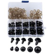 Coogain 100 pcs 6-12 mm Plastic Safety Eyes, Black Safety Eyes Doll Making with 100 pcs Washer for Toy Making DIY Crafts