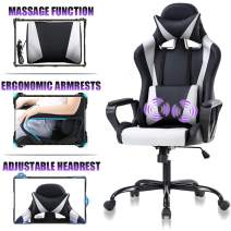 High Back Gaming Chair Ergonomic Racing Heavy Duty Office Chair Pc Video Game Chair, Massage Function Lumbar Support with Arms & Headrest Chic Desk Chair, Swivel Adjustable Best Office Chair - White