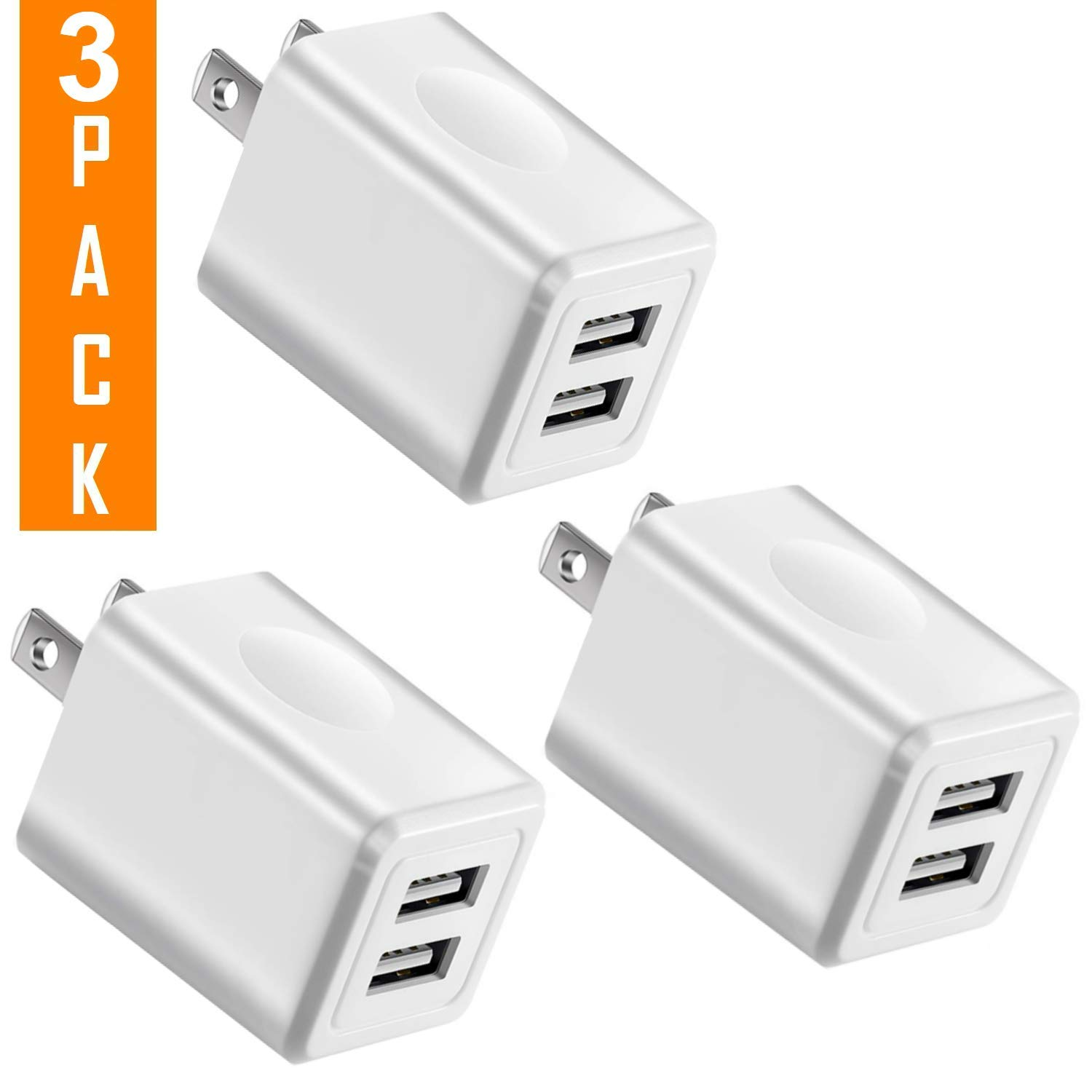 Charger, 2.1A/5V Universal Dual Port USB 2-Port Plug Wall Charger Plug Power Adapter Fast Charging Cube (3-Pack) White