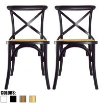 2xhome Set of 2 Black Mid Century Modern Farmhouse Antique Cross Back Chair With X Back Assembled Solid Real Wooden Frame Antique Style Dining Chair Side For Accennt Chair Woven Kitchen Task Work Desk