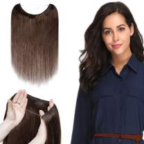 """Remy Human Hair Hidden Wire Extensions Secret Fish Line Hair Extensions Long Straight No Clips No Glue Hairpieces Invisible Fish Line in 16"""" 60g #4 Medium Brown"""