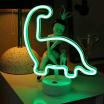 Neon Sign Night Light Lamp with Holder Base Decorative Battery Operated Wall Decoration for Living Room Bedroom Christmas Party Supplies Kids Toys Birthday Gifts(Green Dinosaur)