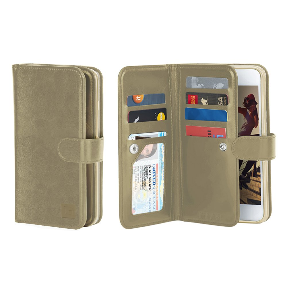 Gear Beast Flip Cover Dual Folio Case fits iPhone 8/7 Wallet Case Slim Protective Lychee PU Leather Case 7 Slot Card Holder Including ID Holder 2 Inner Pockets Stand Feature Wristlet (Gold)