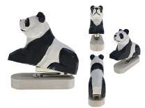 Vivid Handmade Wood Carving Cartoon Mini Animal Stapler for School Office Stationery Children Christmas Gift (Panda)