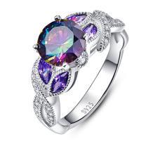 BONLAVIE Engagement Anniversary Ring with 3.6ct Created Rainbow Topaz Cubic Zirconia 925 Sterling Silver