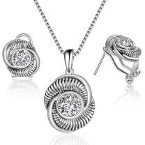 Mytys Jewelry Sets for Women Cubic Zirconia Silver Necklace and Earrings Set Retro Vintage Criss Cross Set for Women Girl