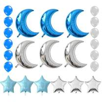 KEYYOOMY Crescent Moon Shaped Mylar Balloons 36 inch Moon and Star Party Balloons for Birthday Party Anniversary Celebrate Parties Wedding Baby Shower Decorations (Blue and Silver)